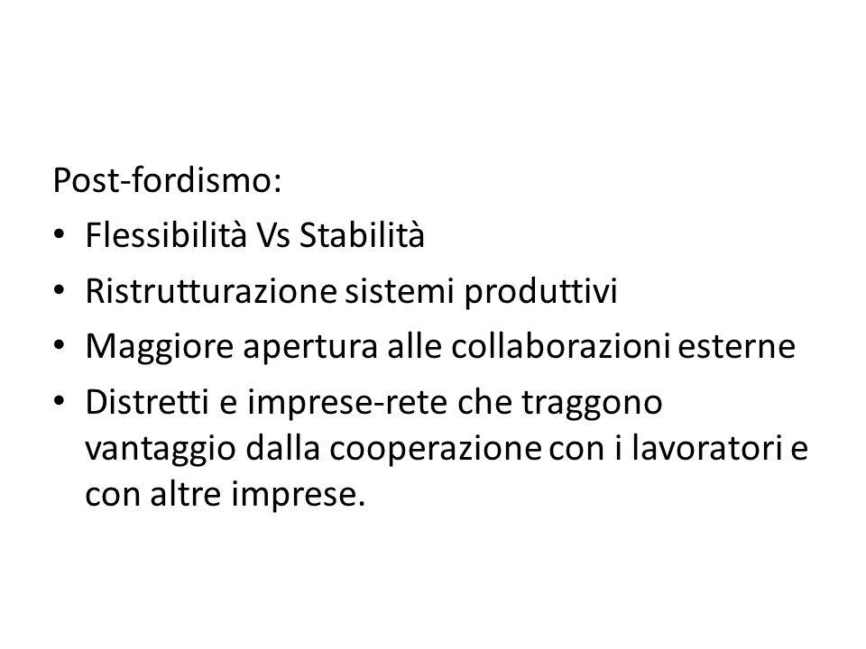 Post-fordismo: Flessibilità Vs Stabilità. Ristrutturazione sistemi produttivi. Maggiore apertura alle collaborazioni esterne.