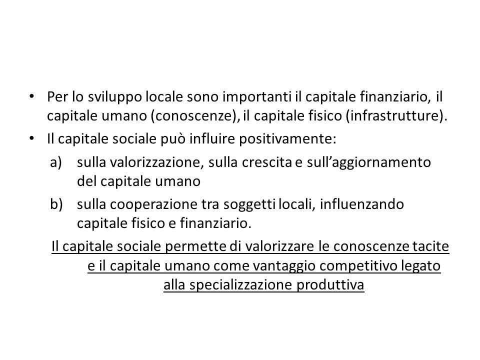 Per lo sviluppo locale sono importanti il capitale finanziario, il capitale umano (conoscenze), il capitale fisico (infrastrutture).
