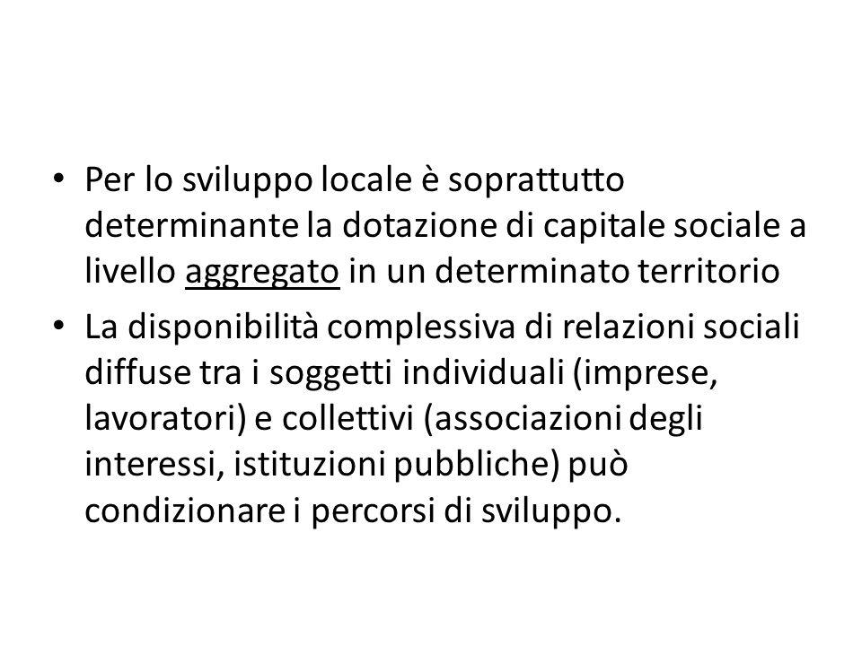 Per lo sviluppo locale è soprattutto determinante la dotazione di capitale sociale a livello aggregato in un determinato territorio