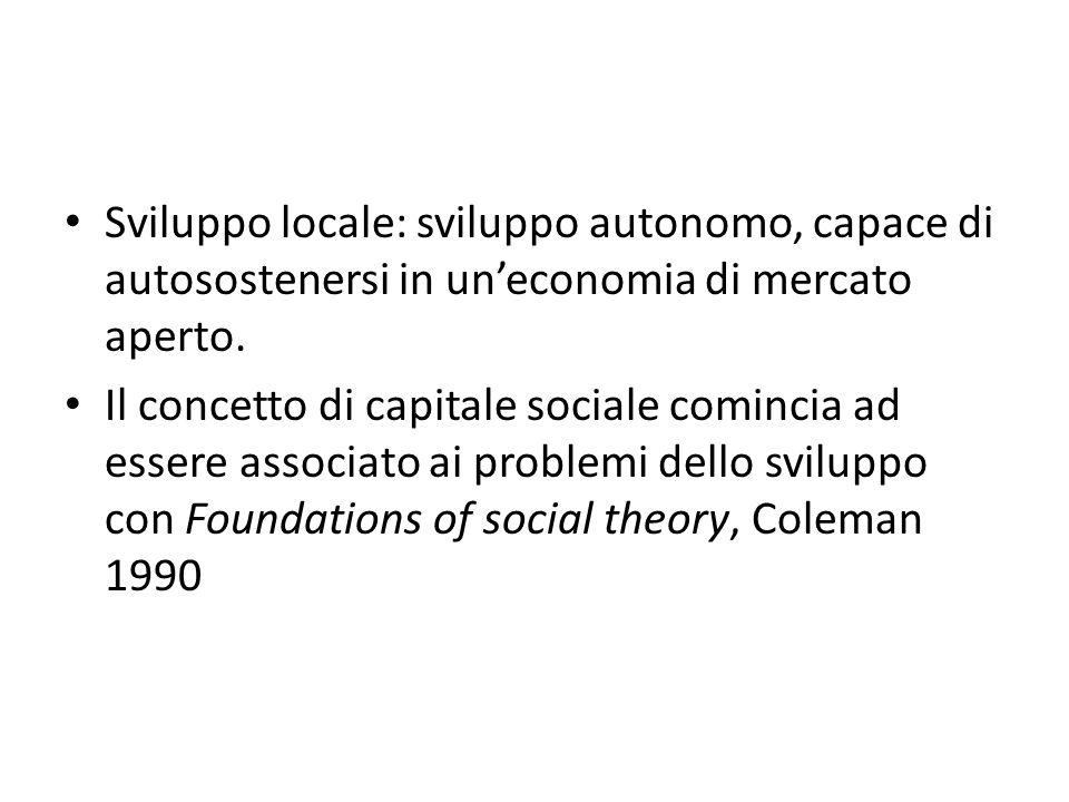 Sviluppo locale: sviluppo autonomo, capace di autosostenersi in un'economia di mercato aperto.