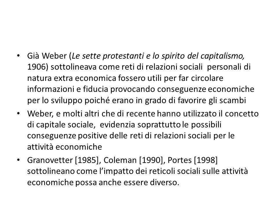 Già Weber (Le sette protestanti e lo spirito del capitalismo, 1906) sottolineava come reti di relazioni sociali personali di natura extra economica fossero utili per far circolare informazioni e fiducia provocando conseguenze economiche per lo sviluppo poiché erano in grado di favorire gli scambi