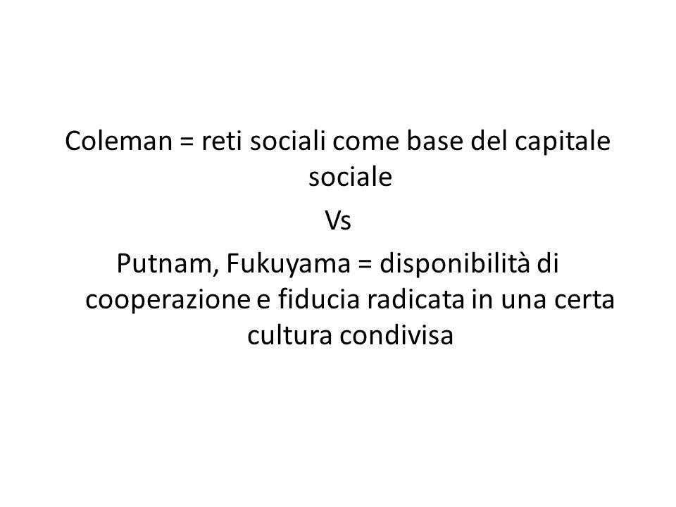 Coleman = reti sociali come base del capitale sociale Vs Putnam, Fukuyama = disponibilità di cooperazione e fiducia radicata in una certa cultura condivisa