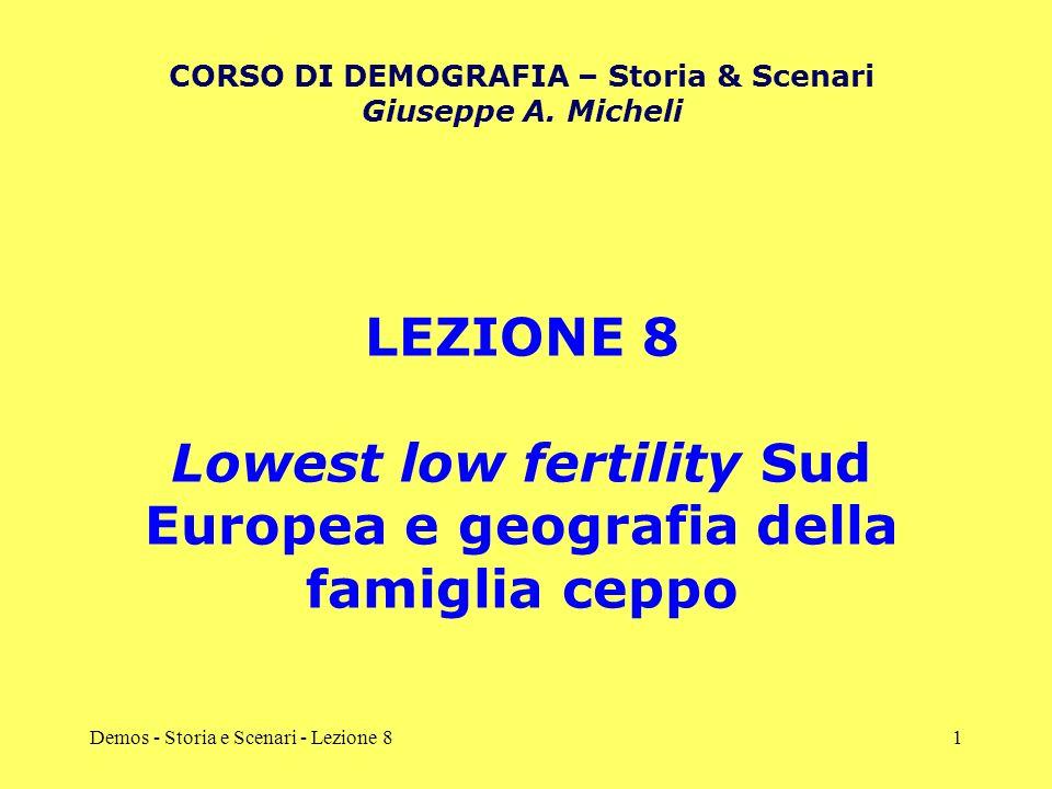 Lowest low fertility Sud Europea e geografia della famiglia ceppo