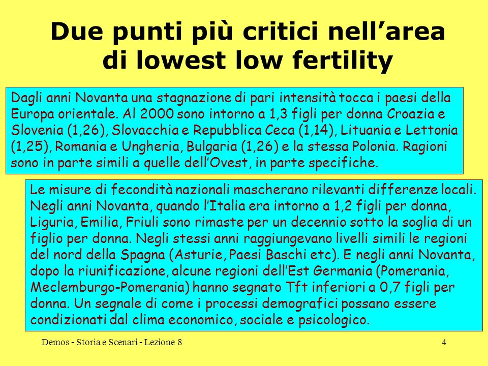 Due punti più critici nell'area di lowest low fertility