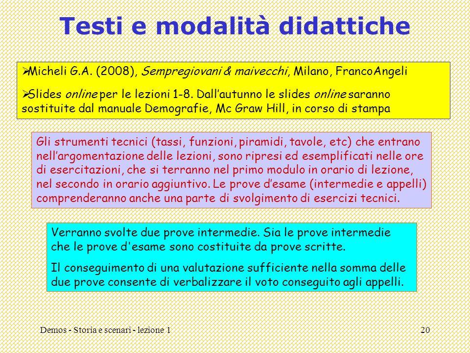 Testi e modalità didattiche