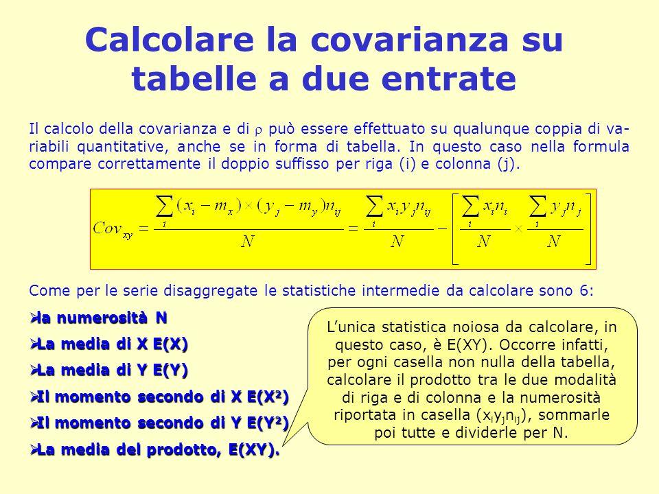 Calcolare la covarianza su tabelle a due entrate