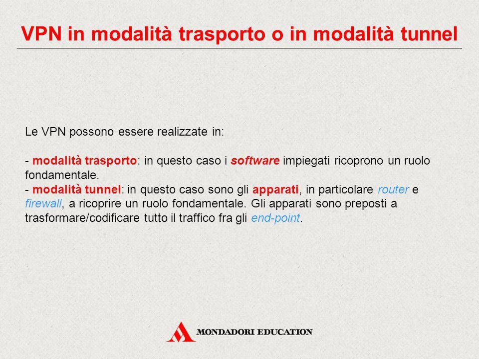 VPN in modalità trasporto o in modalità tunnel