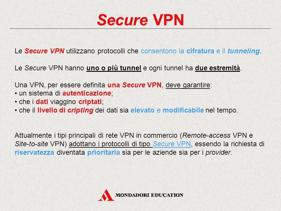Secure VPN Le Secure VPN utilizzano protocolli che consentono la cifratura e il tunneling.