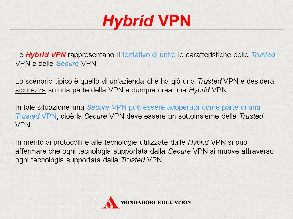 Hybrid VPN Le Hybrid VPN rappresentano il tentativo di unire le caratteristiche delle Trusted VPN e delle Secure VPN.