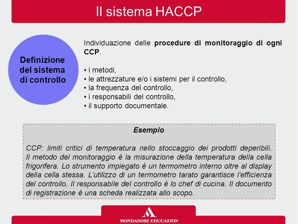 Il sistema HACCP Definizione del sistema di controllo