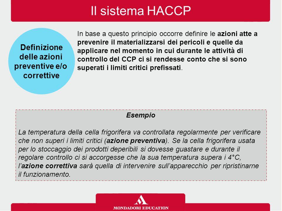 Il sistema HACCP Definizione delle azioni preventive e/o correttive