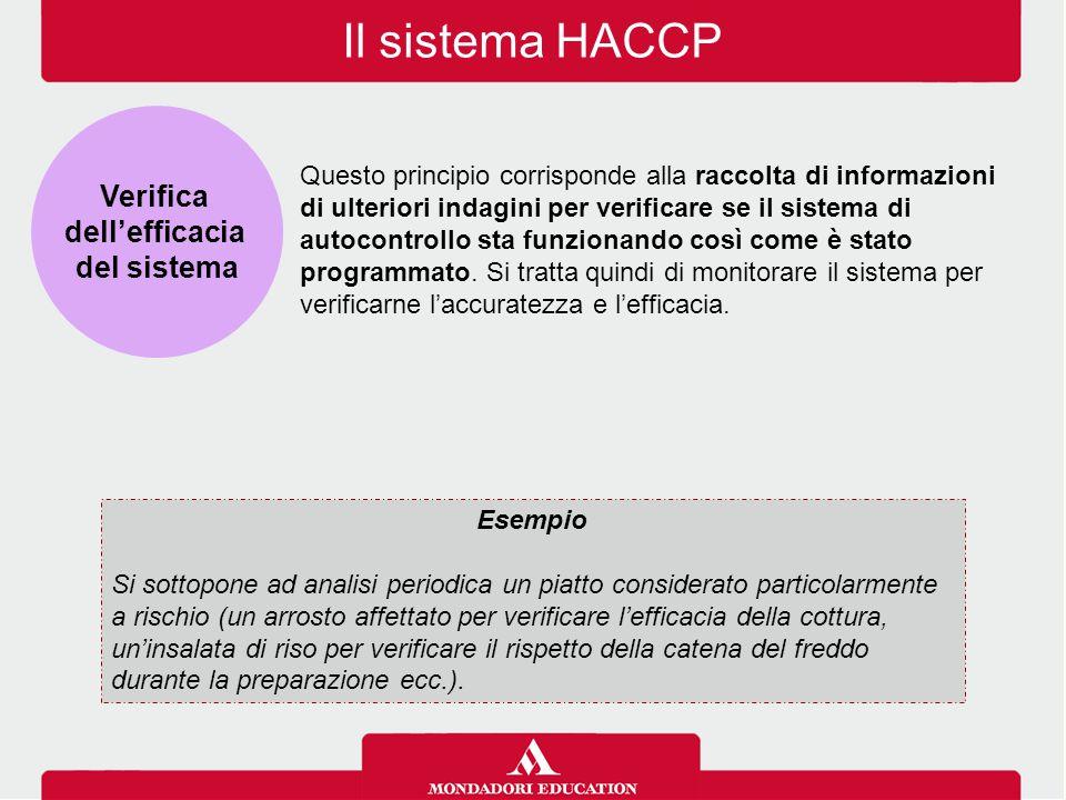 Il sistema HACCP Verifica dell'efficacia del sistema