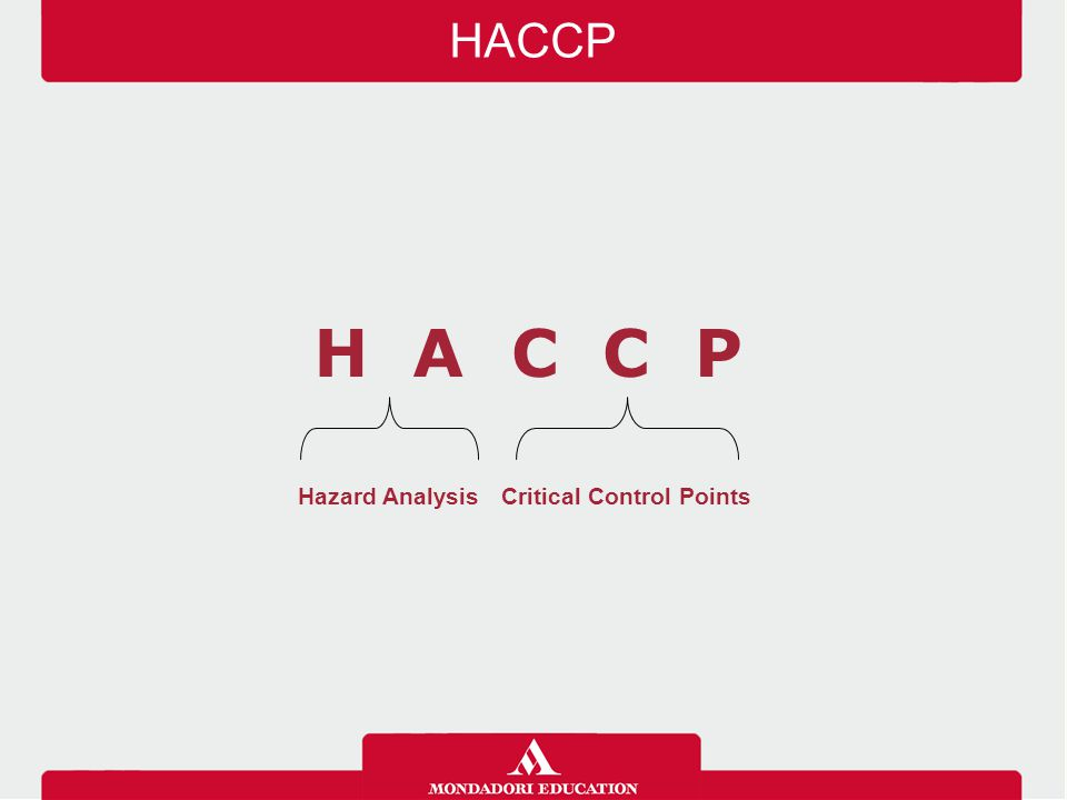 HACCP H A C C P Hazard Analysis Critical Control Points