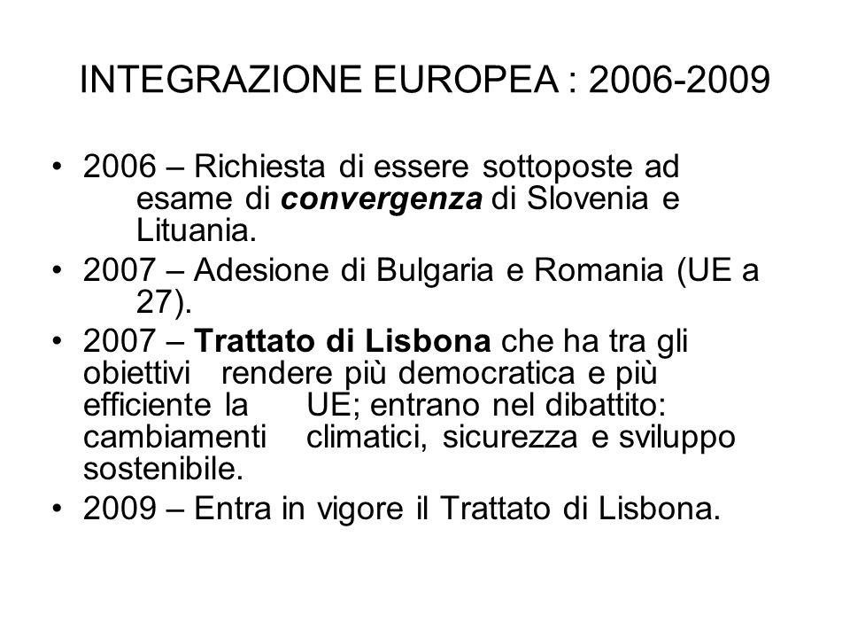 INTEGRAZIONE EUROPEA : 2006-2009