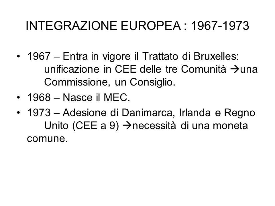 INTEGRAZIONE EUROPEA : 1967-1973