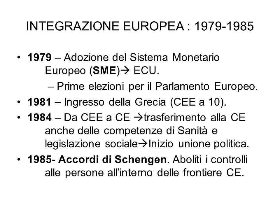 INTEGRAZIONE EUROPEA : 1979-1985