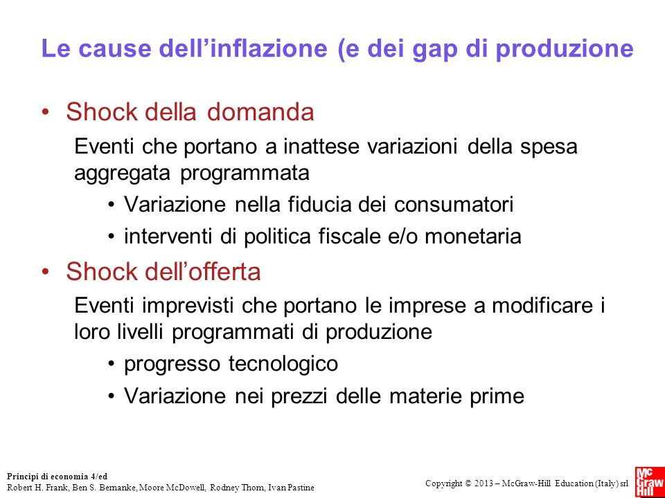 Le cause dell'inflazione (e dei gap di produzione