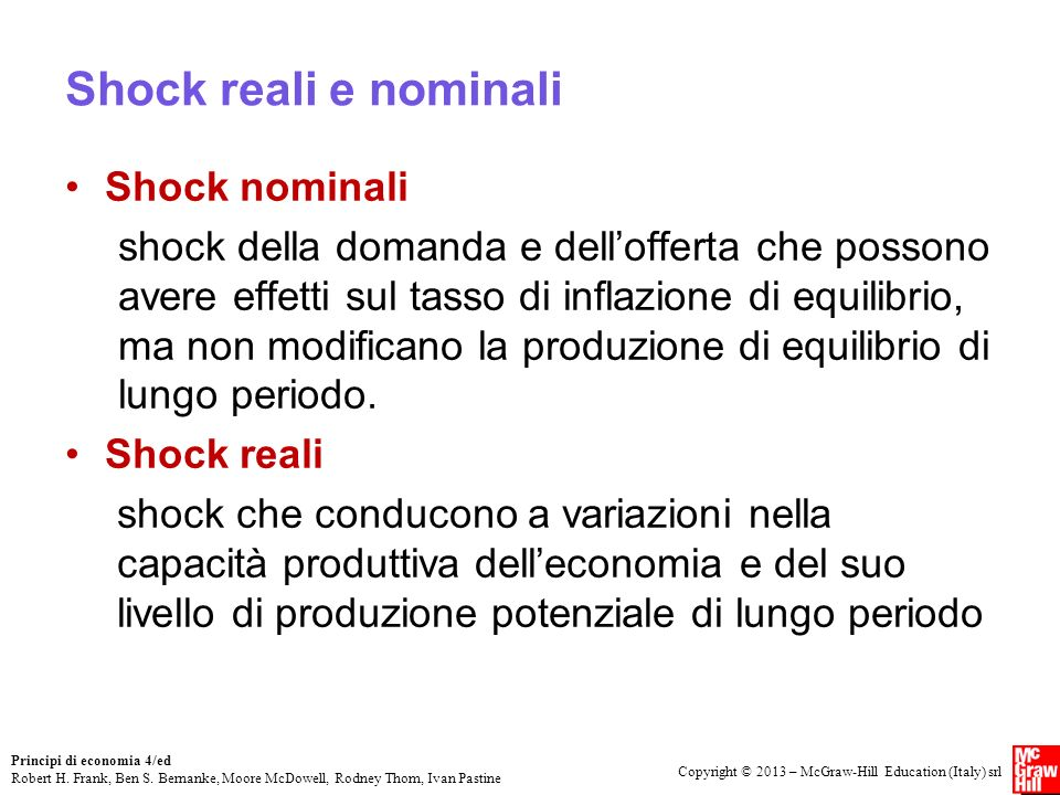 Shock reali e nominali Shock nominali