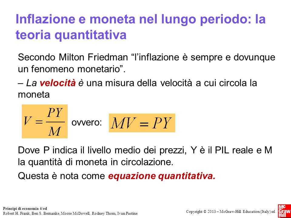 Inflazione e moneta nel lungo periodo: la teoria quantitativa