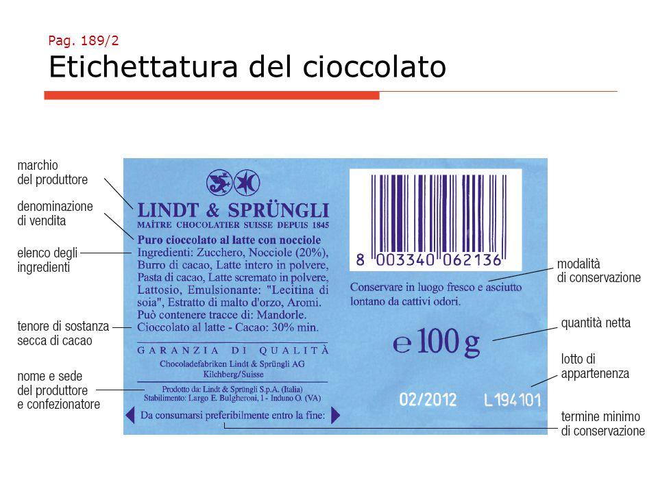 Pag. 189/2 Etichettatura del cioccolato