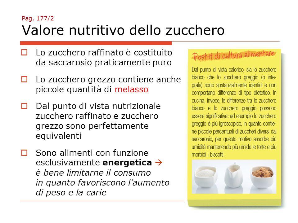 Pag. 177/2 Valore nutritivo dello zucchero