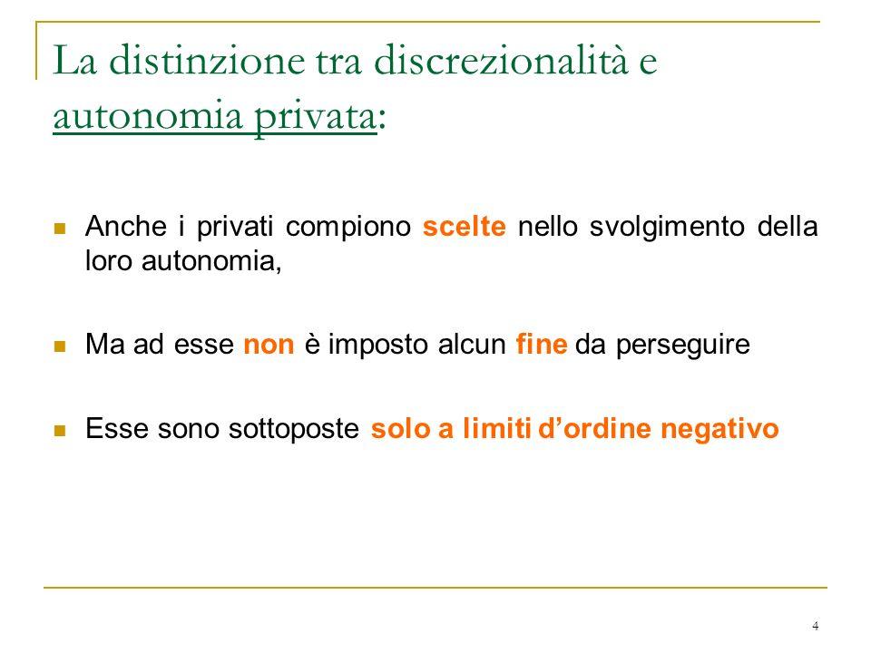La distinzione tra discrezionalità e autonomia privata: