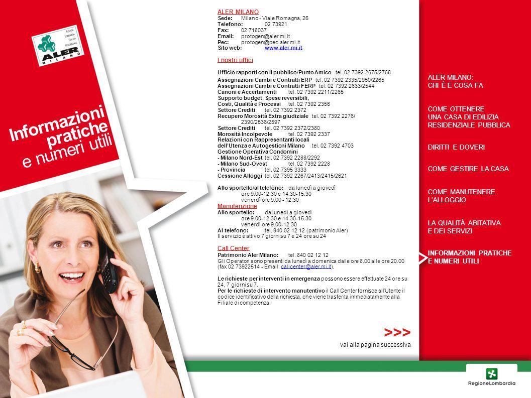 Informazioni pratiche e numeri utili >>> ALER MILANO: