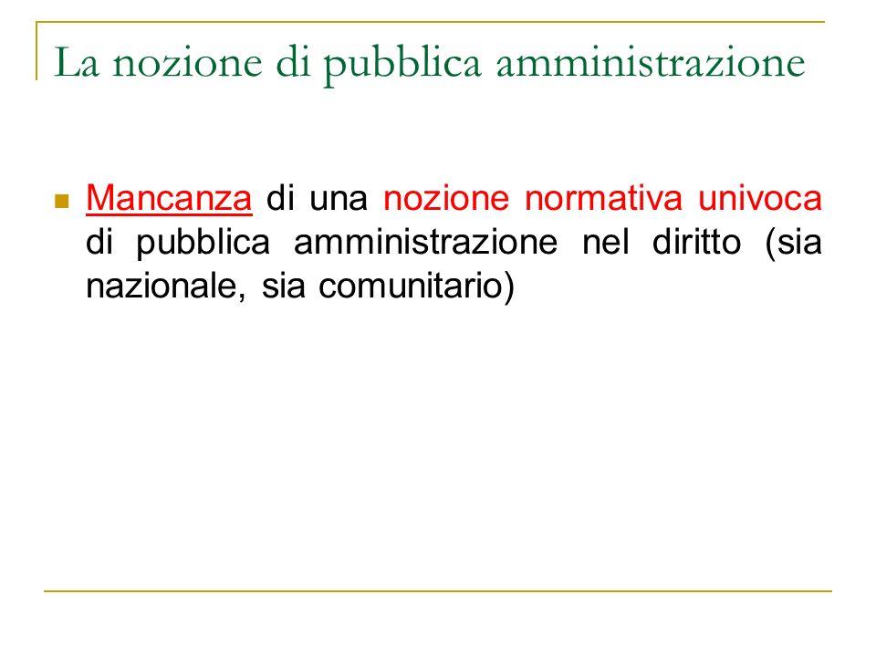 La nozione di pubblica amministrazione