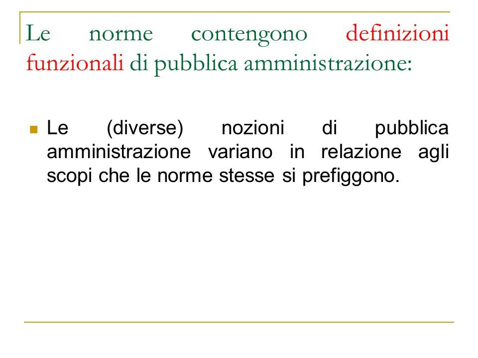 Le norme contengono definizioni funzionali di pubblica amministrazione: