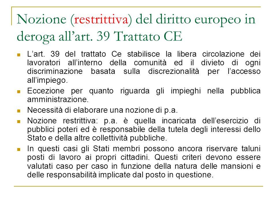 Nozione (restrittiva) del diritto europeo in deroga all'art