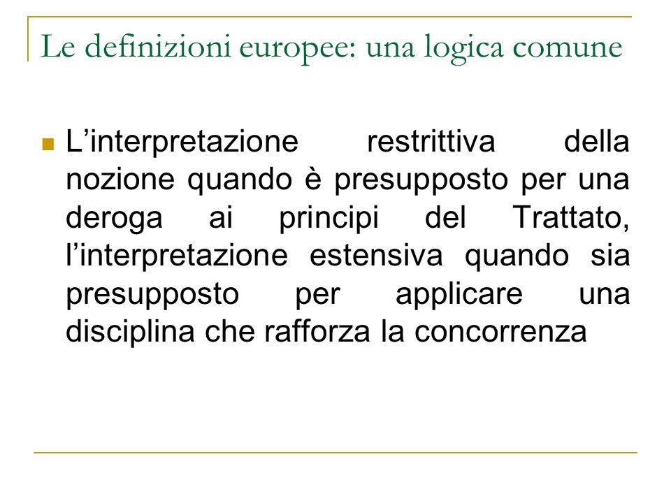 Le definizioni europee: una logica comune