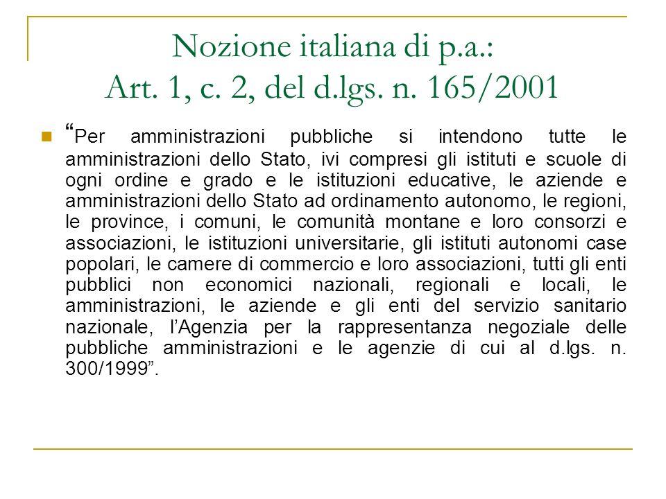 Nozione italiana di p.a.: Art. 1, c. 2, del d.lgs. n. 165/2001
