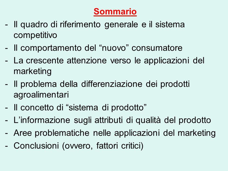Sommario Il quadro di riferimento generale e il sistema competitivo. Il comportamento del nuovo consumatore.