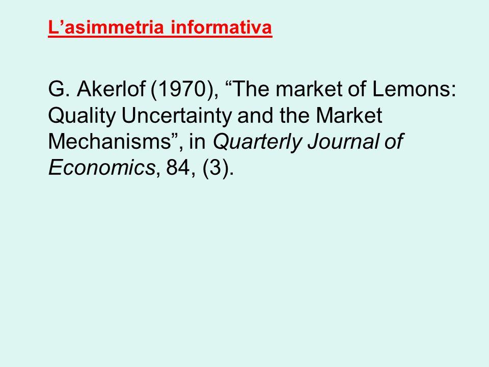 L'asimmetria informativa