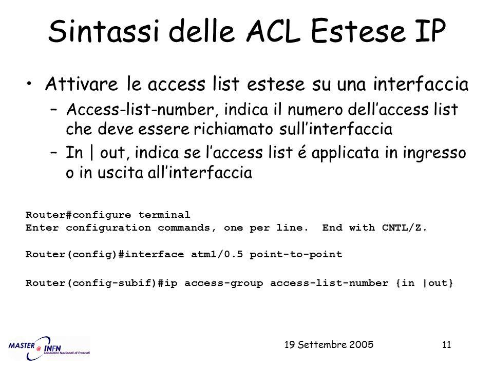 Sintassi delle ACL Estese IP
