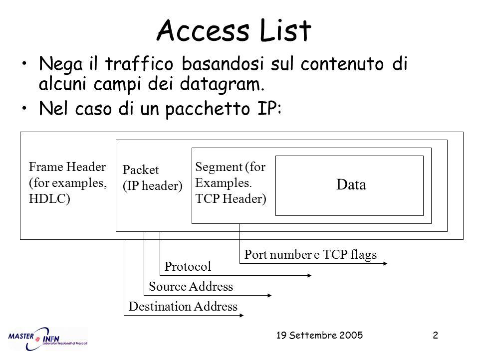 Access List Nega il traffico basandosi sul contenuto di alcuni campi dei datagram. Nel caso di un pacchetto IP: