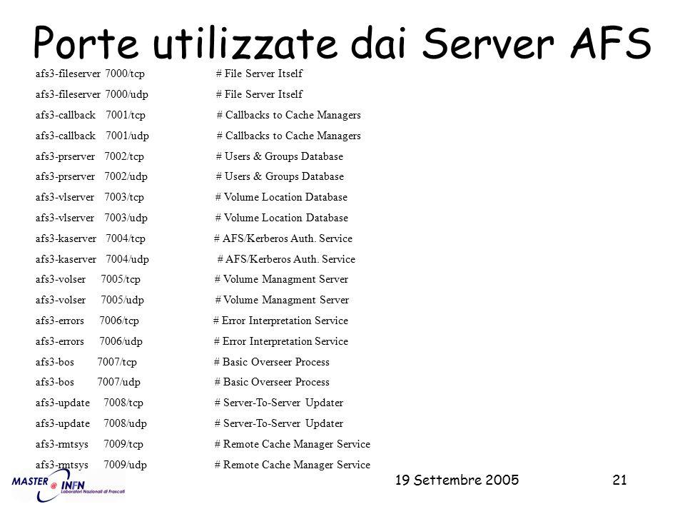 Porte utilizzate dai Server AFS