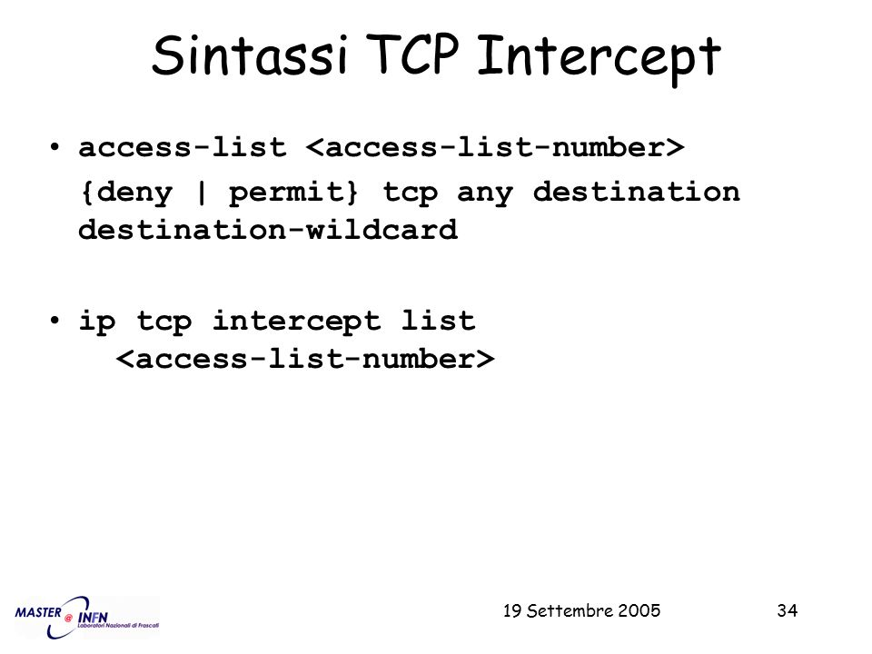 Sintassi TCP Intercept