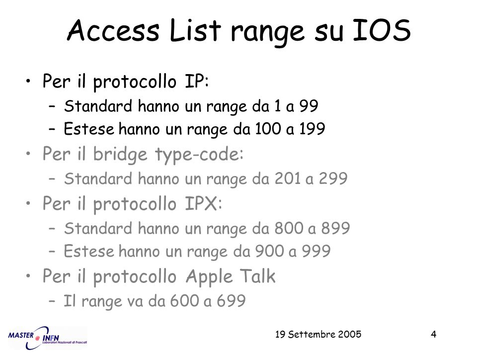 Access List range su IOS