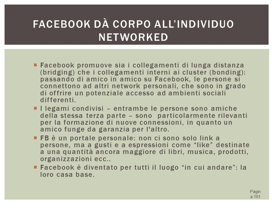 Facebook dà corpo all'individuo networked