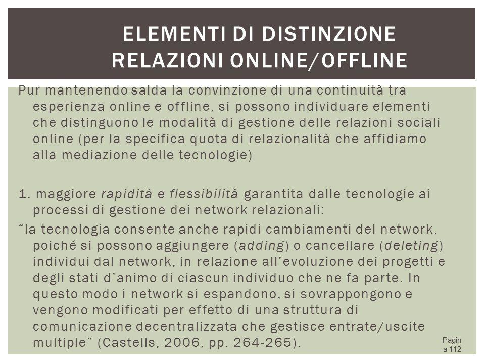 Elementi di distinzione relazioni online/offline