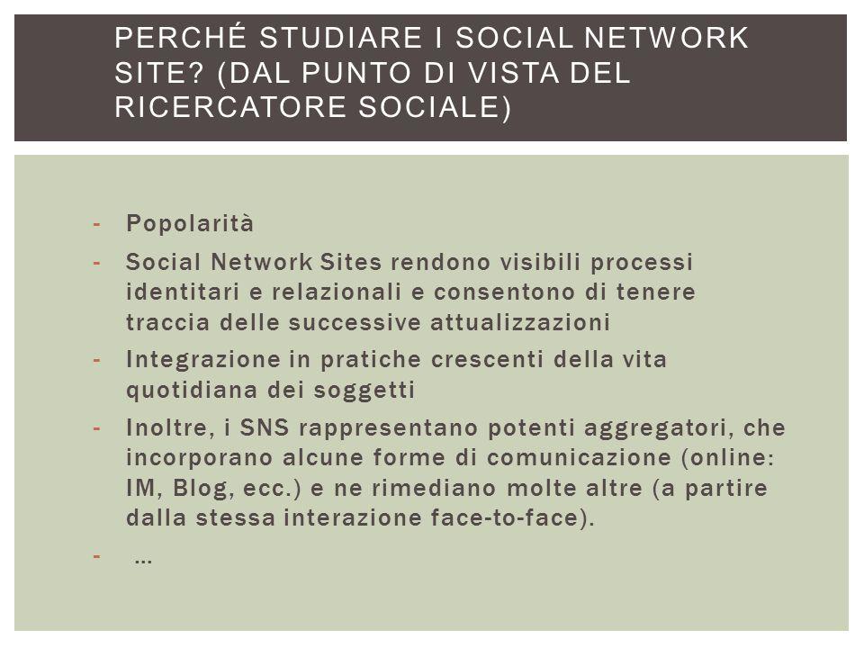 Perché studiare i Social Network Site