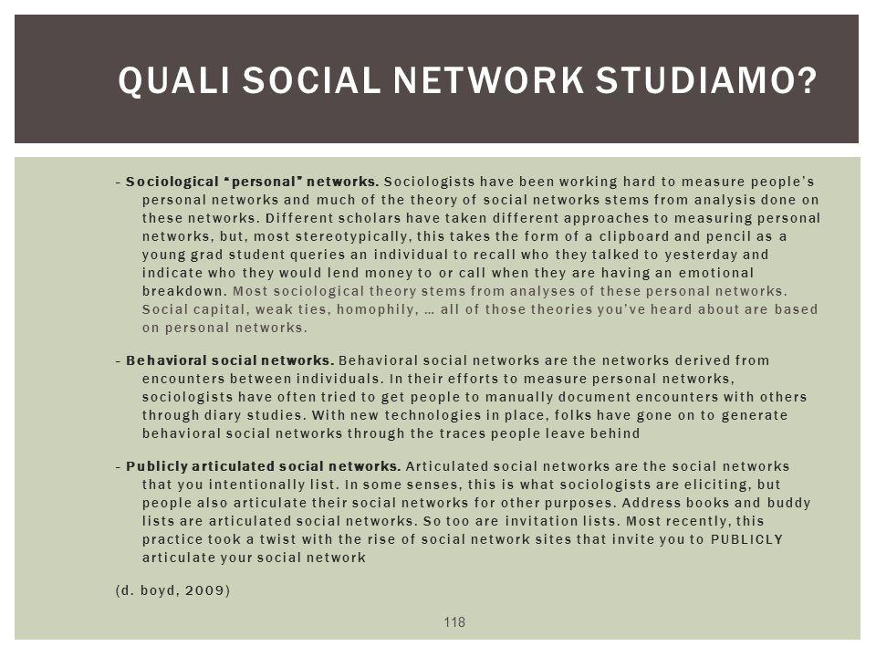 Quali social network studiamo