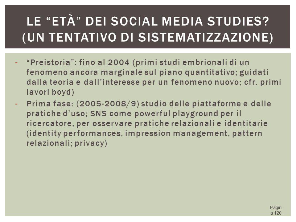 Le età dei Social media studies (un tentativo di sistematizzazione)