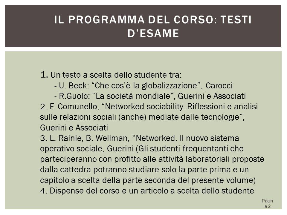 Il programma del corso: testi d'esame