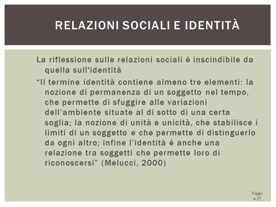 Relazioni sociali e identità