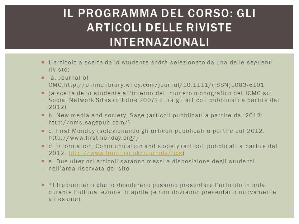Il programma del corso: gli articoli delle riviste internazionali