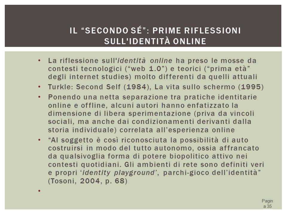Il secondo sé : prime riflessioni sull identità online
