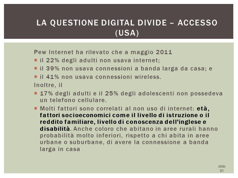La questione digital divide – accesso (USA)