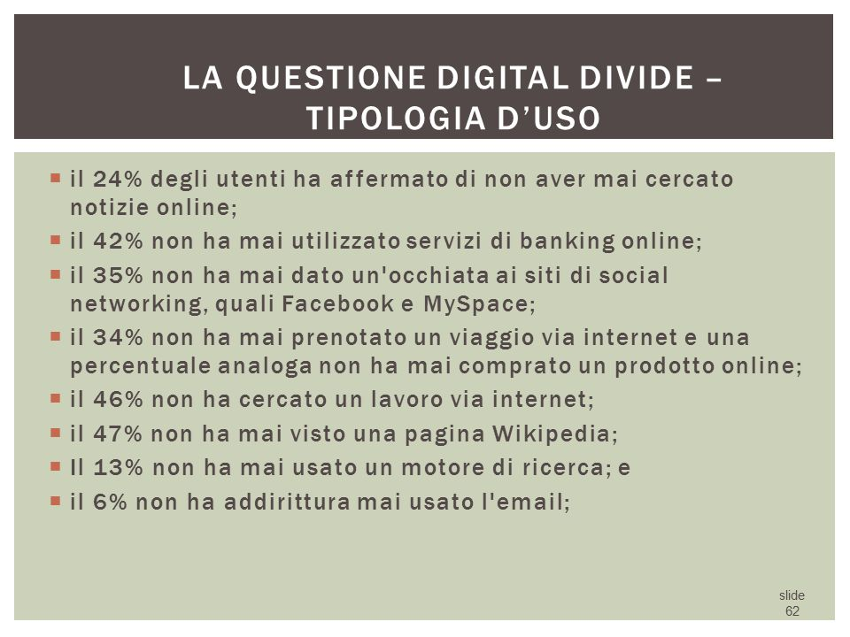 La questione digital divide – tipologia d'uso